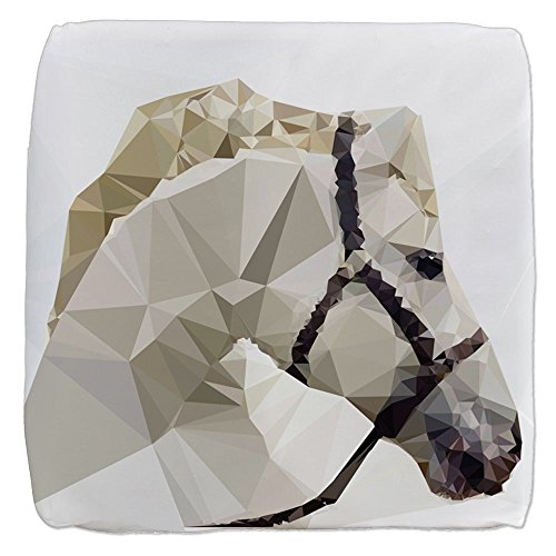 18 Inch 6-Sided Cube Ottoman Triangle Horse by Royal Lion