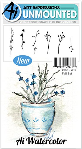 tercolor Cling Rubber Stamp - Fall Set (Fall Watercolor)