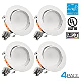 4-Inch LED Gimbal Recessed Retrofit Downlight,11W (65W Equiv.), Dimmable Directional Ceiling Light Fixture, ENERGY STAR, UL-listed,5000K Daylight, 5 YEARS WARRANTY, Pack of 4