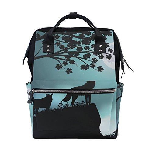 - Evening Moon Wolf School Backpack Bookbag Travel Shoulder Stylish Large Capacity Diaper Bags