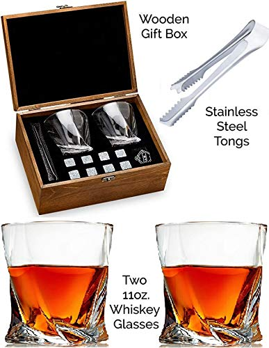 Twist Whiskey Glass Set of 2 - Bourbon Whiskey Stones Gift Set - Scotch Rocks Tongs, Coasters, Chilling Stones & Bar Glasses - Drinking Glasses for Men & Woman - Whiskey Glassware in Wooden Gift Box