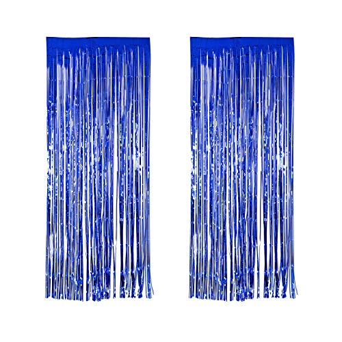 Xena 2 Piece Metallic Blue Shiny Shimmering Foil Fringe Door Curtain Window Wall Party Decoration Birthday Holiday Christmas New Years Wedding Party Photography Supplies DIY Photo Booth Accessories 8 Feet