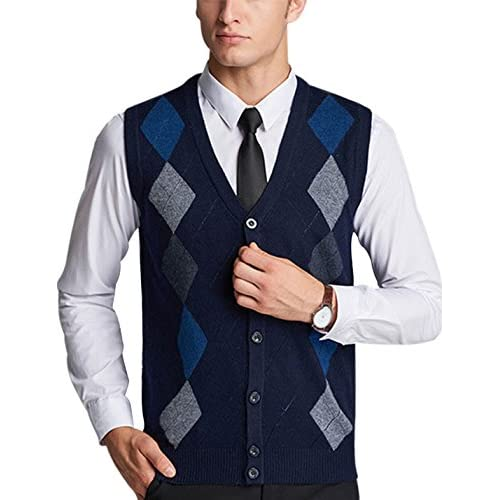 Yeokou Mens V Neck Wool Cashmere Sleeveless Button Down Sweater