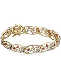 """18k Yellow Gold Plated Sterling Silver Genuine Ruby and Diamond Accent Bracelet, 7.25"""""""