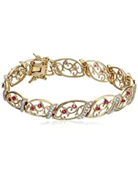 18k Yellow Gold Plated Sterling Silver Ruby and Diamond Accent Bracelet, 7.25""