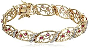 18k Yellow Gold Plated Sterling Silver Genuine Ruby and Diamond Accent Bracelet, 7.25""