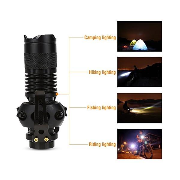 Alomejor Linterna para Casco, Q5 Zoom Linterna y Casco Linterna Juego de Clips con batería cargable para Seguridad y… 14