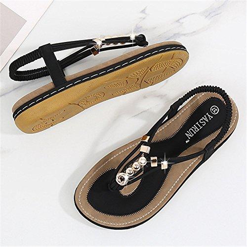 Transpirables Punta con De De Sandalias Bohemia Cuero Sandalias Cordones Verano Zapatillas Mujer Plana De Rosa Negro Zapatos De 84a7qFw