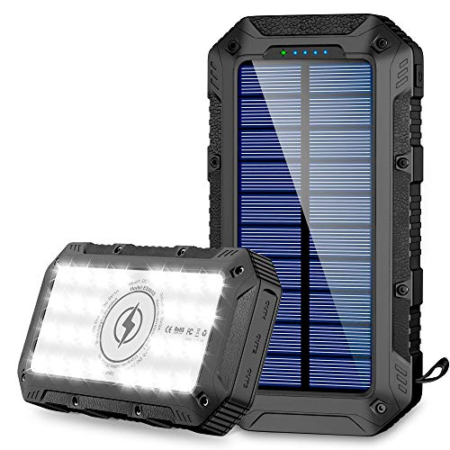 Power Bank 26800mAh, Wireless Portable Charger 28 LED Flashlights External Battery Pack with 3 USB Output Rainproof Lanyard High Capacity Solar Charger Compatible with iPhone, Samsung, Huawei, iPad