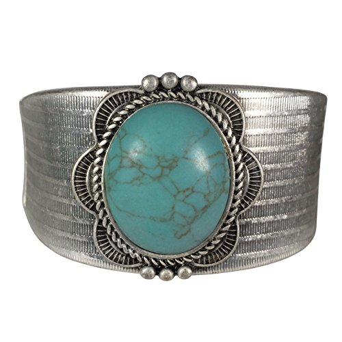 Simulated Turquoise Western Style Silver Tone Wide Bracelet (Oval)