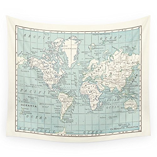 Cream Tapestry - Society6 World Map In Blue And Cream Wall Tapestry Small: 51