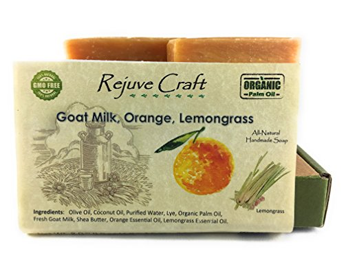 Goat Milk Soap. Orange, Lemongrass All Natural, and Organic Olive Oil. Handmade in the USA. Relaxing, Refreshing, Anti-Aging, Luxuriously Mild, Deodorant, For Sensitive ()
