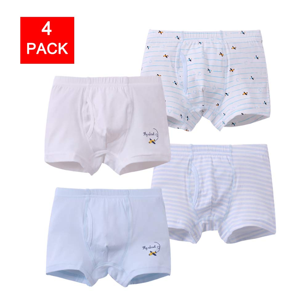 Zegoo Kids Boys Breathable Cotton Underwear Boxer Briefs Shorts 4-Pack