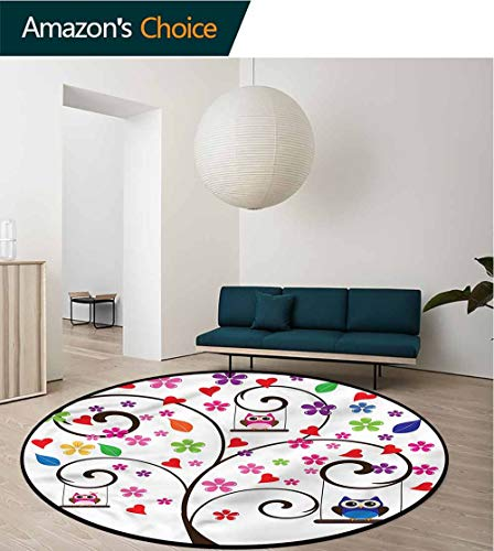 RUGSMAT Owls Round Rugs for Bedroom,Tree Flowers Playful Birds Kids Teepee Tent Game Play House Round Diameter-55