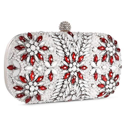 Bolso de Fiesta Noche Hard Shell Clutch Pequeña Diamantes de imitación Billetera del Banquete Bolso de Boda,Blanco