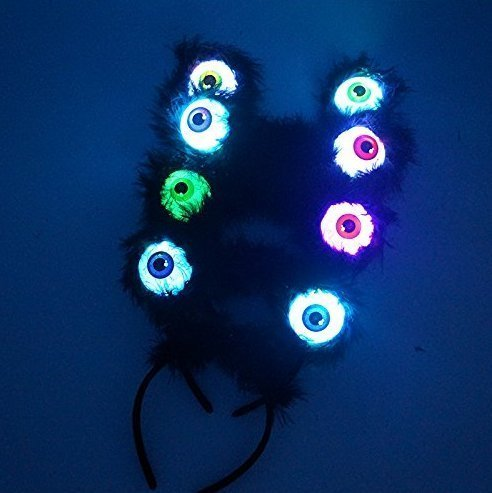 UChic 4PCS Eyeball LED Flashing Eyes Black Feather Alien Hairband Costume Accessories Glow Party Supplies Party Favors for Kids Girls - Goggles Wiggle