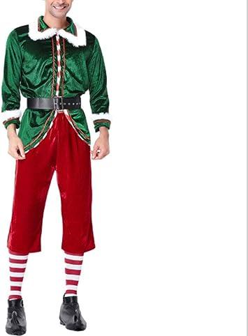 Mitef Disfraz De Duende Verde Navideño Santa Claus Traje Adulto ...