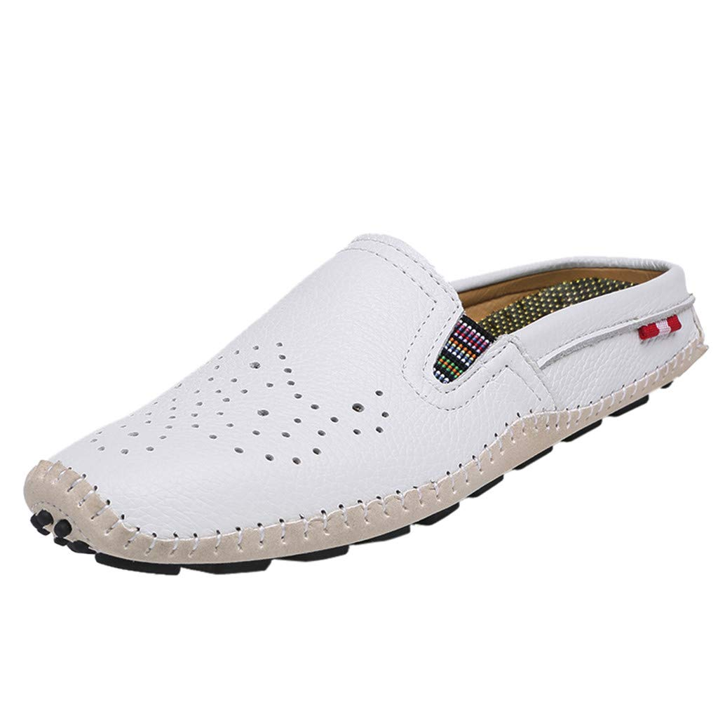 Men's Premium Casual Slip on Loafers Breathable Driving Fashion Slipper Loafers Shoes (US:8, White)