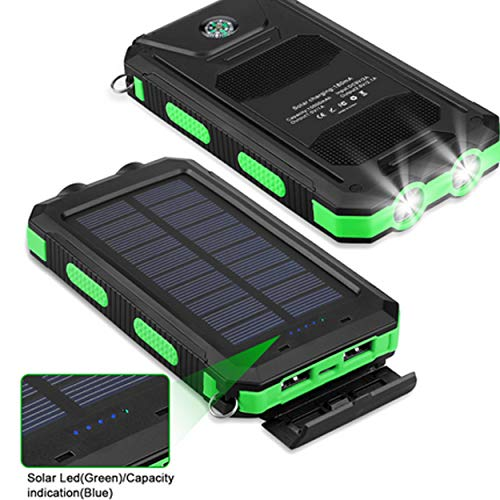 Bysionics Solar Phone Charger,Portable Charger Solar Charger Power Bank 12000mah External Backup Battery Pack Dual USB with 2LED Light Carabiner and Compass for Your Smartphones and More (Orange) by Bysionics (Image #6)