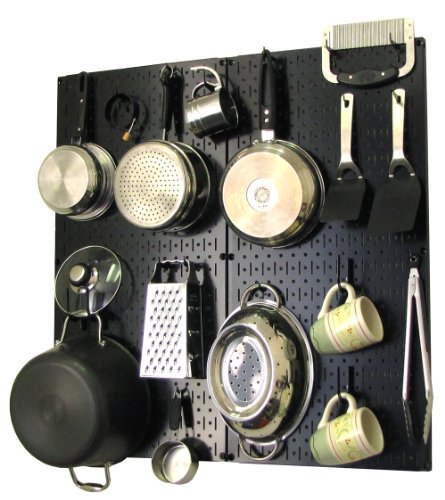 Wall Control Kitchen Pegboard Organizer Pots and Pans Pegboard Pack Storage and Organization Kit with Black Pegboard and Black Accessories