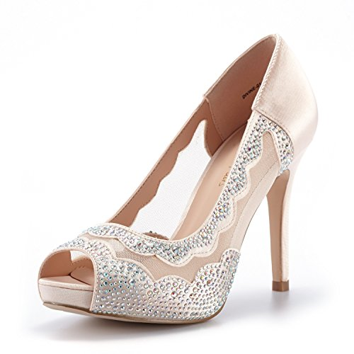 DREAM PAIRS Women's Divine-01 Champagne High Heel Pump Shoes - 10 M US Divine High Heel Heels