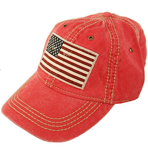 Epoch Unisex Washed Cotton Vintage USA Flag Low Profile Summer Baseball Cap Hat Red