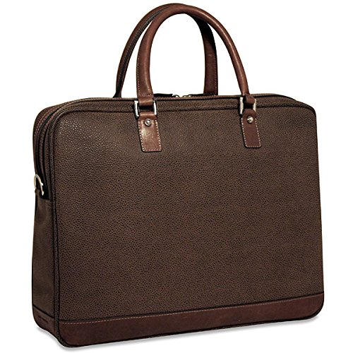 Jack Georges Nevada Collection Single Gusset Top Zip Briefcase in Brown