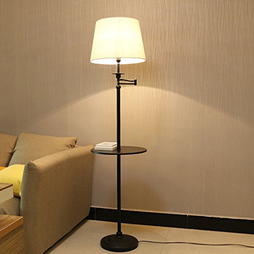 Swing Arm Floor Lamp by Kshioe, Portable Floor lamp with Metal Trays, Contemporary Floor Lamp with Beige Linen Fabric Shade