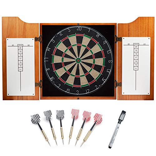 GSE Games & Sports Expert Solid Wood Dartboard Cabinet Set with Bristle Dartboard and 6 Steel Tip Darts (Oak/Mahogany) (Oak) ()