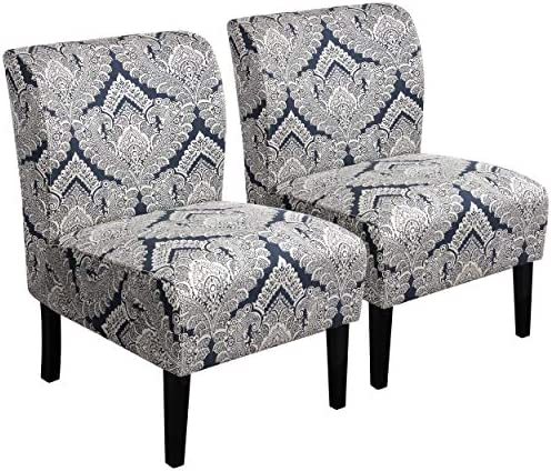 YAHEETECH Pack of 2 Fabric Upholstered Armless Accent Chair Slipper Chair Dining Chair Elegant Design Contemporary Fabric Living Room Chairs Sofa Gray