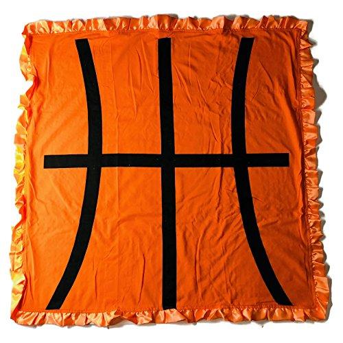 KWC Soft and Cozy Large Minky Minkee Ruffled Edge Baby Shower Throw Blanket (Orange Basketball, One (Basketball Blanket)