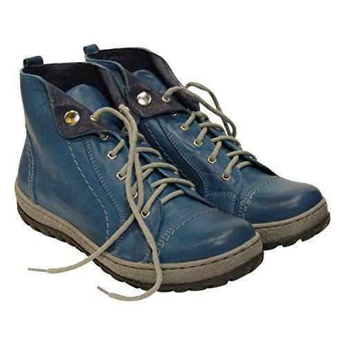 (V Italia 1041 Women's Light Blue Mano Casual Leather European Trainers (39, Light Blue Mano))