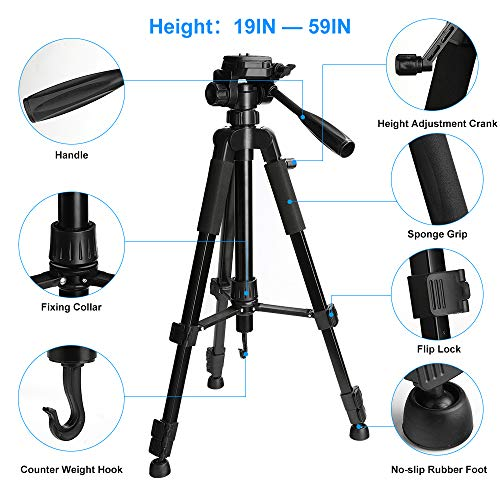 Tripod, Camera Tripod 59'' Portable Phone Tripod with Phone Holder, Video Tripod Compatible for Canon Nikon Sony Olympus DV, 360 Panorama, 2.69Lb Lightweight Aluminum Alloy with Travel Bag, 11Lb Load by MACTREM (Image #2)