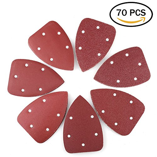 Mouse Detail Sander Sandpaper Sanding Pads Sheets by LotFancy, 5-Hole, Assorted 40/60/80/120/180/240/320 Grit, Pack of 70