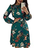 Ninimour Women Bowtie Neck Long Sleeve Casual Floral Dress Green XL