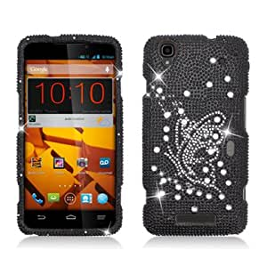 Black and Silver Butterfly Diamond Bling Case + ATOM LED Keychain Light for ZTE Boost Max N9520