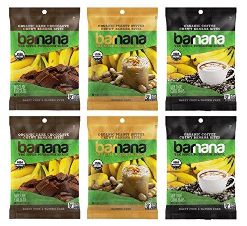 Barnana Organic Chewy Banana Bites 3 Flavor 6 Snack Bag Variety Bundle: (2) Peanut Butter, (2) Coffee, and (2) Dark Chocolate, 1.4 Oz. Ea. (6 Bags Total)