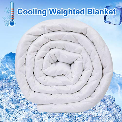 Cheap Reliancer Cooling Weighted Blanket for Hot Summer 25lbs 60 x80 Dual Sided Cooling Ice Silk Natural Cotton Glass Beads Heavy Blanket for 220-280lbs Women Men Fits Queen King Black Friday & Cyber Monday 2019