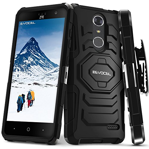 ZTE Blade Spark/ZTE Grand X4 Case, Evocel [New Generation Series] Belt Clip Holster, Kickstand, Dual Layer for ZTE Grand X 4 (Z956) / ZTE Blade Spark (Z971) / ZTE Damon, Black (Cases Cricket Phone Grand Zte)