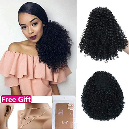 Natural Drawstring - Moshina Graceful Afro Black Kinky Curly Ponytail with 2 Clips-Natural Looking As Human Hair-Afro Puff Drawstring Ponytail for Black Women -Short Afro Curly Extensions(black 1b)
