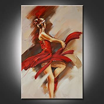 QuotDancing Red Girlquot Abstract Paintings Printed On Canvas Modern Wall