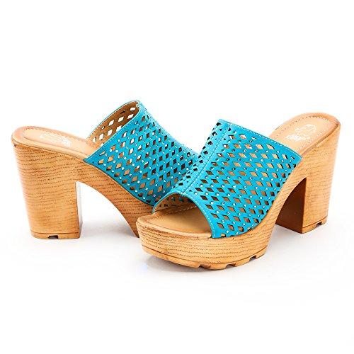 Alexis Leroy ALSS308 - Sandalias de tacón Mules Mujer Azul