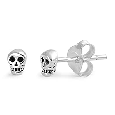 Extra Small/Discreet Skull and Crossbones Sterling Silver Stud Earrings with Black Crystal Eyes 89MvUdy