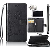 Samsung Galaxy S4 Mini Case, Bonice 3 in 1 Accessory PU Leather Flip Practical Book Style Magnetic Snap Wallet Case with [Card Slots] [Hand Strip] Premium Multi-Function Design Cover + Stylus Pen + Diamond Cute Sleeping Cat Antidust Plug, Black