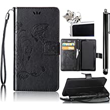 Samsung Galaxy Grand Prime G530 Case, Bonice 3 in 1 Accessory PU Leather Flip Practical Book Style Magnetic Snap Wallet Case with [Card Slots] [Hand Strip] Premium Multi-Function Design Cover + Stylus Pen + Diamond Cute Sleeping Cat Antidust Plug, Black