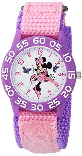 DISNEY Girls Minnie Mouse Analog-Quartz Watch with Nylon Strap, Pink, 15.8 (Model: WDS000499)