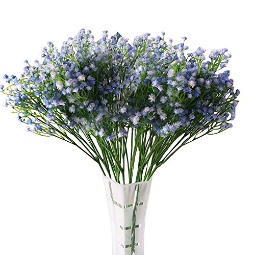 LYLYFAN 12 Pcs Babys Breath Artificial Fake Flowers, Gypsophila Real Touch Flowers for Wedding Party Home Garden Decoration Blue
