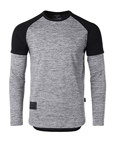 ZIMEGO Mens Twofer Contrast Layered Long Sleeve Round Bottom Hipster T Shirts