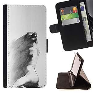 ART SAD PAINTING WOMAN CHARCOAL GREY/ Personalizada del estilo del dise???¡Ào de la PU Caso de encargo del cuero del tir????n del soporte d - Cao - For Samsung Galaxy Note 4 IV