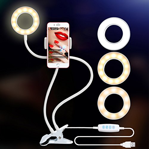 Ring Light with Stand for Live Stream, Dimmable[3-Light Mode][9-Level Brightness] Clamp on Gooseneck Cell Phone Stand with Selfie Ring Light for Youtube, Facebook, iphone X,8, 7,6/plus,Samsung,HTC